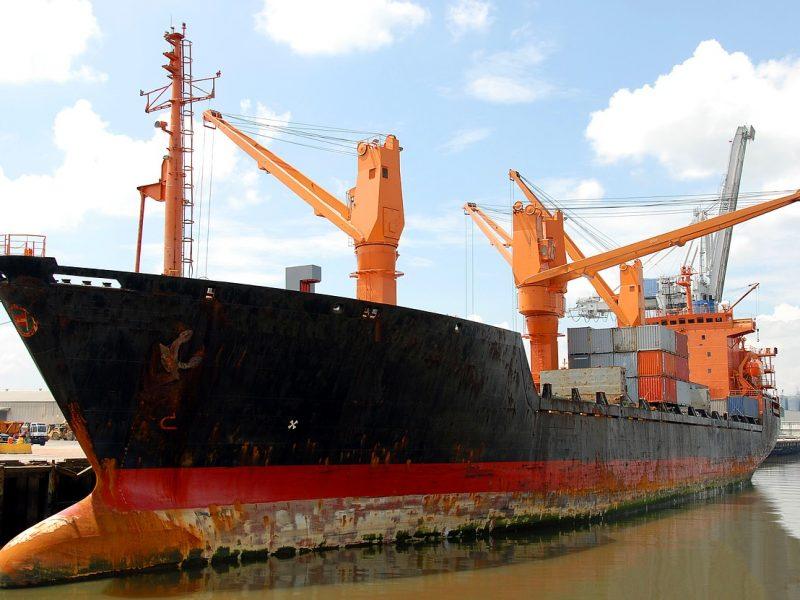 A cargo ship ready to sail